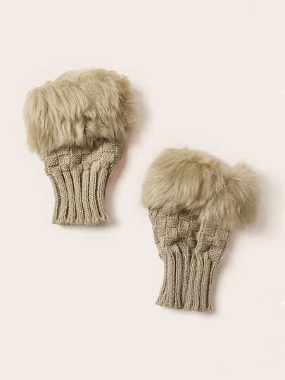 Fluffy Trim Knitted Gloves