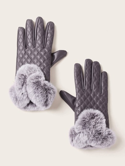 Fluffy Trim PU Leather Gloves