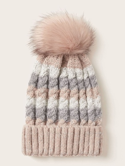 Color Block Pom Pom Beanie