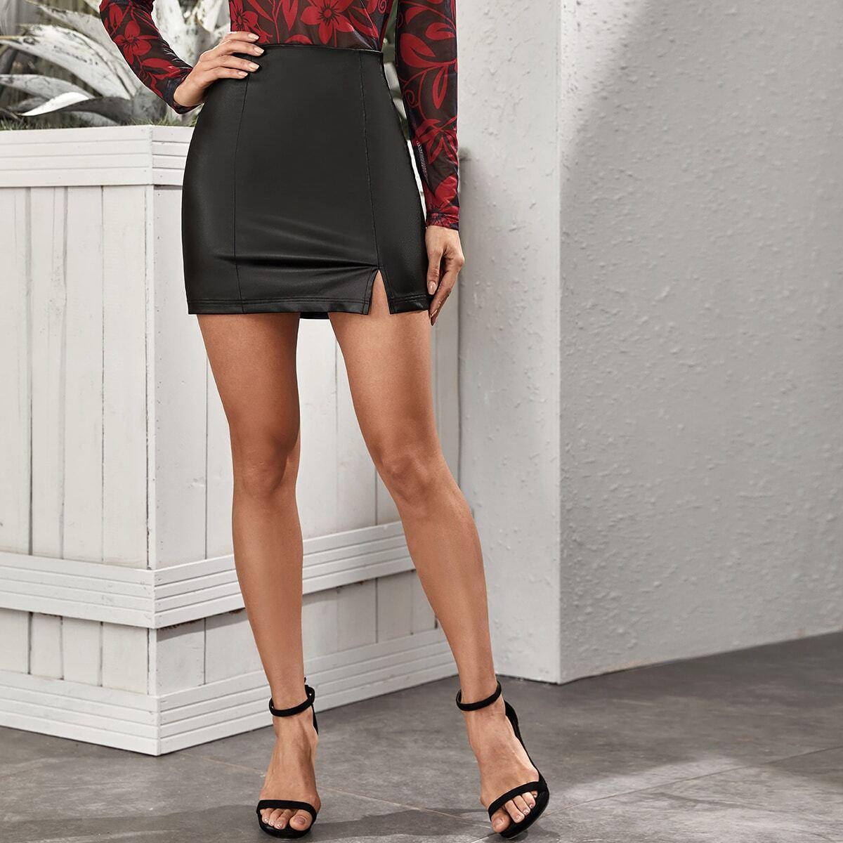 Облегающая юбка из искусственной кожи с разрезом и молнией