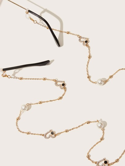 Faux Pearl & Rhinestone Engraved Heart Decor Glasses Chain