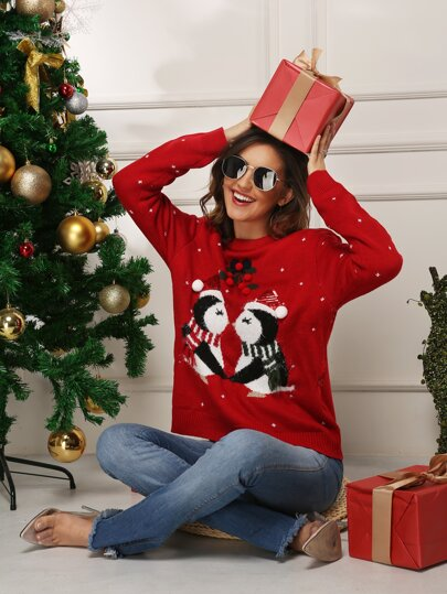 Christmas Print Round Neck Jumper