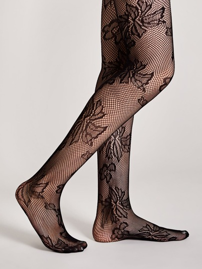 1pair Flower Pattern Mesh Stockings