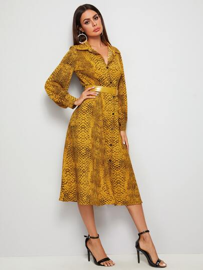 Snake Print Belted Shirt Dress