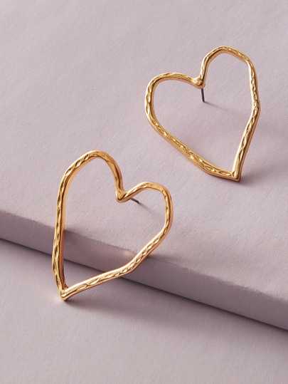 1pair Metallic Hollow Out Heart Earrings