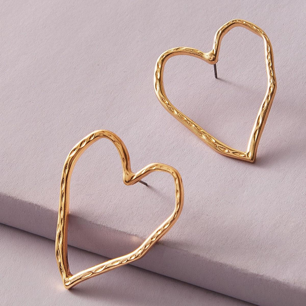 Металлические серьги в форме полого сердечка 1 пара