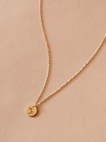 1pc Round Disc Charm Necklace