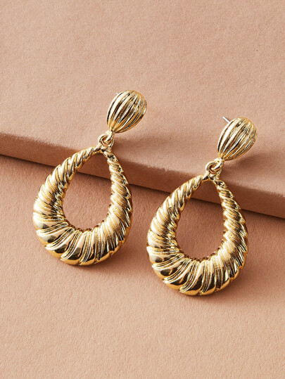 1pair Textured Water Drop Earrings