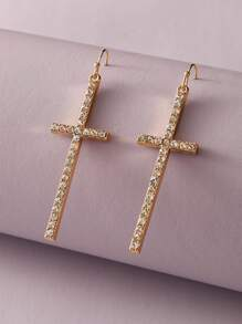 1pair Rhinestone Engraved Cross Drop Earrings