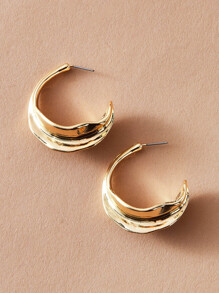 1pair Hammered Hoop Earrings