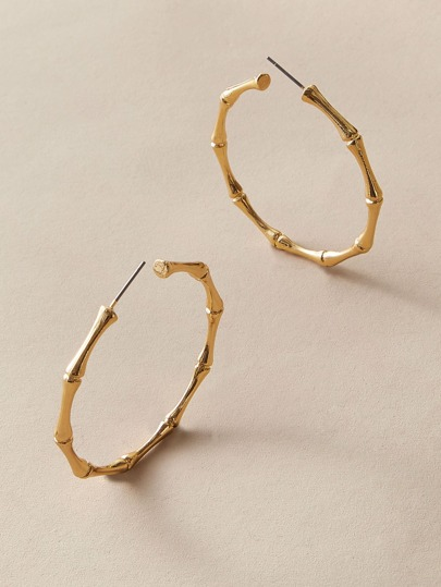 1pair Bamboo Metal Hoop Earrings
