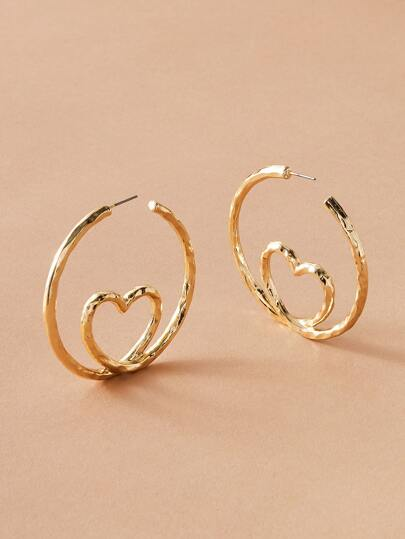 1pair Hollow Out Heart Hoop Earrings