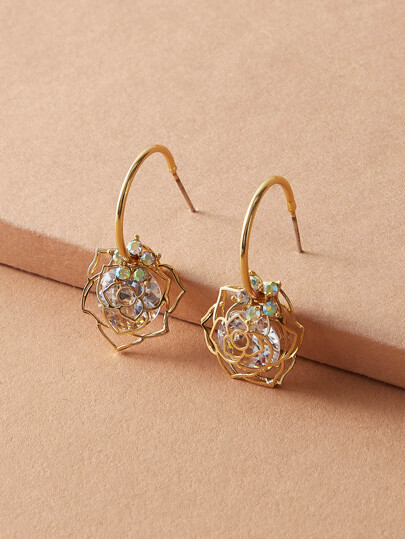 1pair Flower Hoop Drop Earrings
