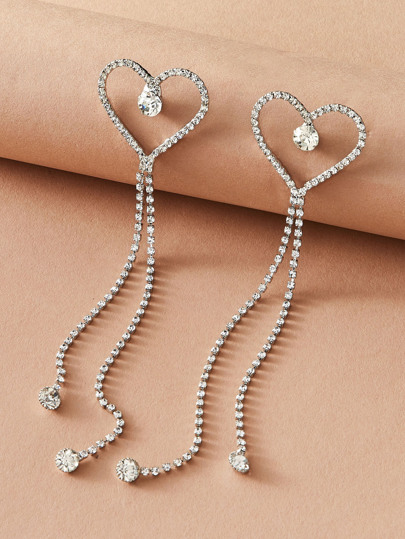 1pair Rhinestone Engraved Heart Tassel Drop Earrings