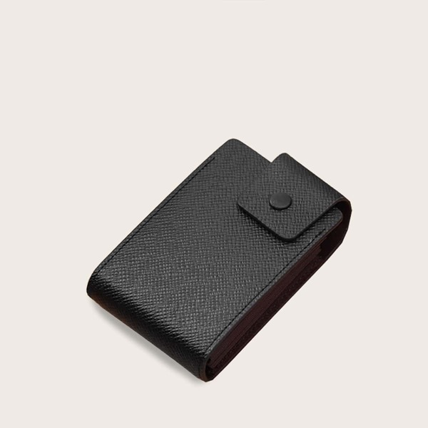 Men Snap Button Card Holder, Black