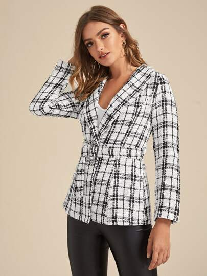 Plaid Lapel Neck Belted Tweed Coat