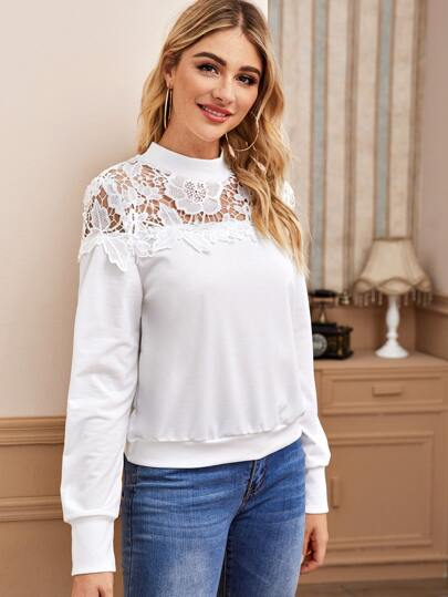 Solid Contrast Lace Sweatshirt