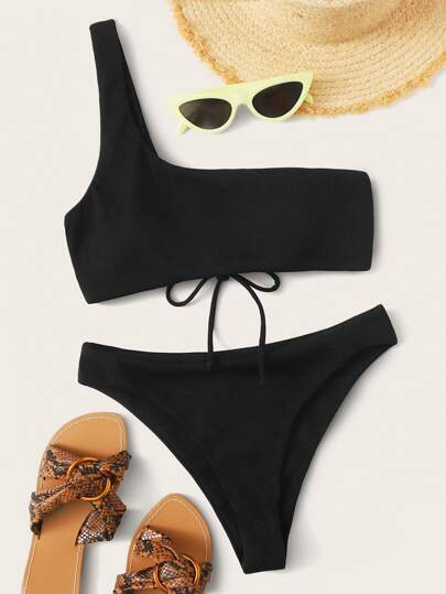 Lace-up Back One Shoulder High Cut Bikini Swimsuit