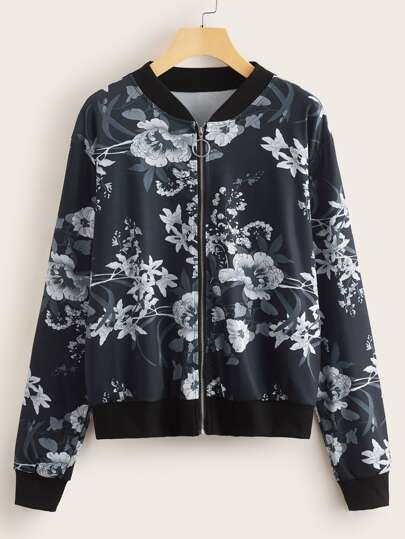 O-ring Zip Up Floral Print Bomber Jacket