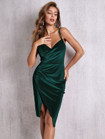 SBetro Wrap Velvet Cami Dress