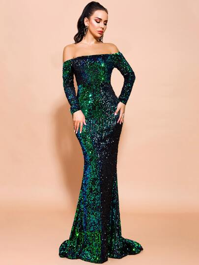 Missord Off Shoulder Iridescent Sequin Fishtail Prom Dress