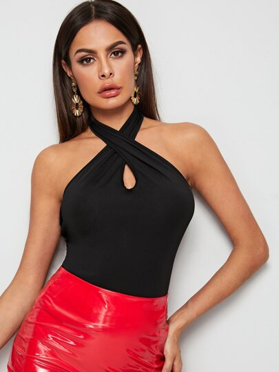 Solid Criss Cross Halter Top