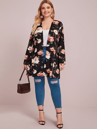 Plus Floral Print Open Front Coat