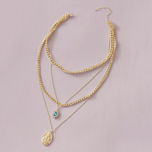 1pc Coin Charm Layered Chain Necklace, Gold