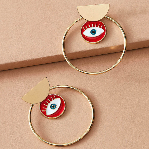 1pair Eye Charm Hoop Drop Earring, Multicolor