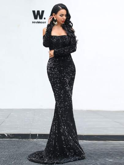 Missord Off Shoulder Sequin Fishtail Prom Dress