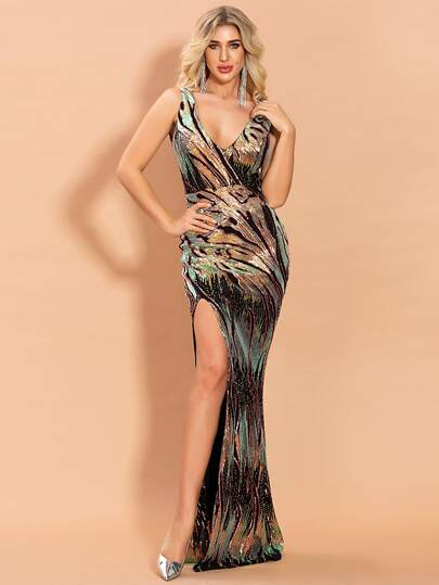 Missord Plunging Neck Split Thigh Sequin Prom Dress