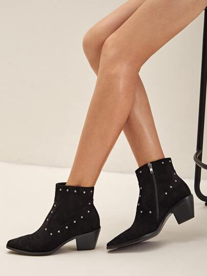 Studded Decor Point Toe Chunky Boots