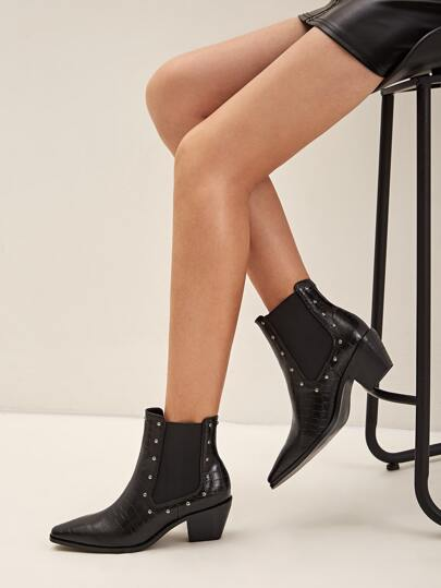 Studded Decor Point Toe Chelsea Boots