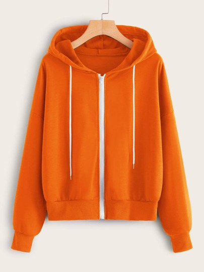 Drawstring Detail Zip Up Hoodie
