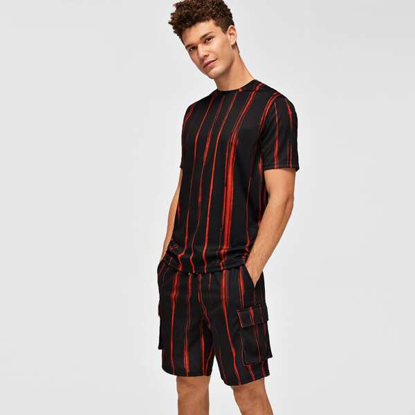 Men Brush Stroke Print Tee & Flap Pocket Shorts Set, Black