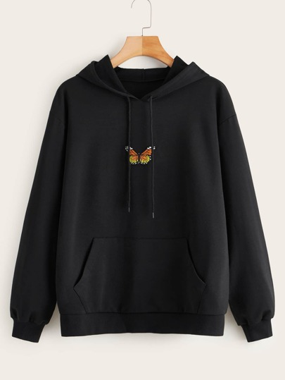 Butterfly Embroidered Kangaroo Pocket Drawstring Hoodie