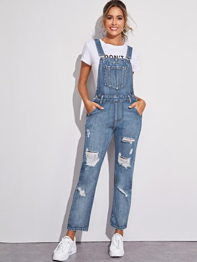 Ripped Pocket Criss Cross Denim Overalls