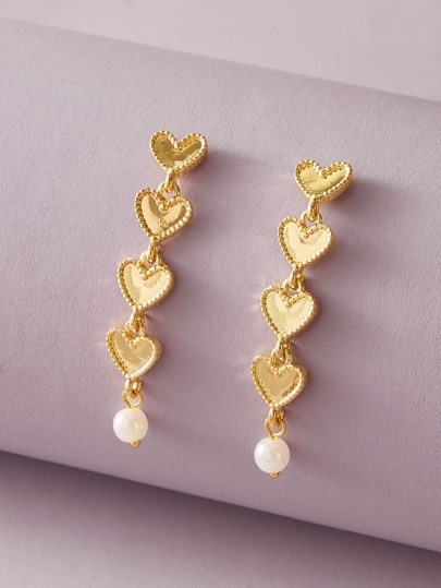 1pair Layered Heart & Faux Pearl Drop Earrings