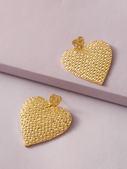 1pair Textured Heart Drop Earrings