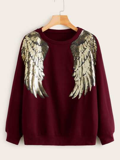 Contrast Sequin Wing Patched Sweatshirt