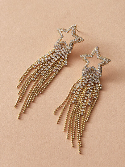 1pair Rhinestone Engraved Star & Tassel Drop Earrings
