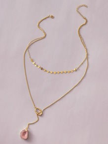 1pc Stone Charm Layered Lariat Necklace