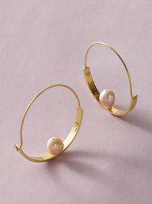 1pair Faux Pearl Decor Hoop Earrings