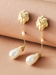 1pair Hammer Geometric Decor Faux Pearl Waterdrop Earrings