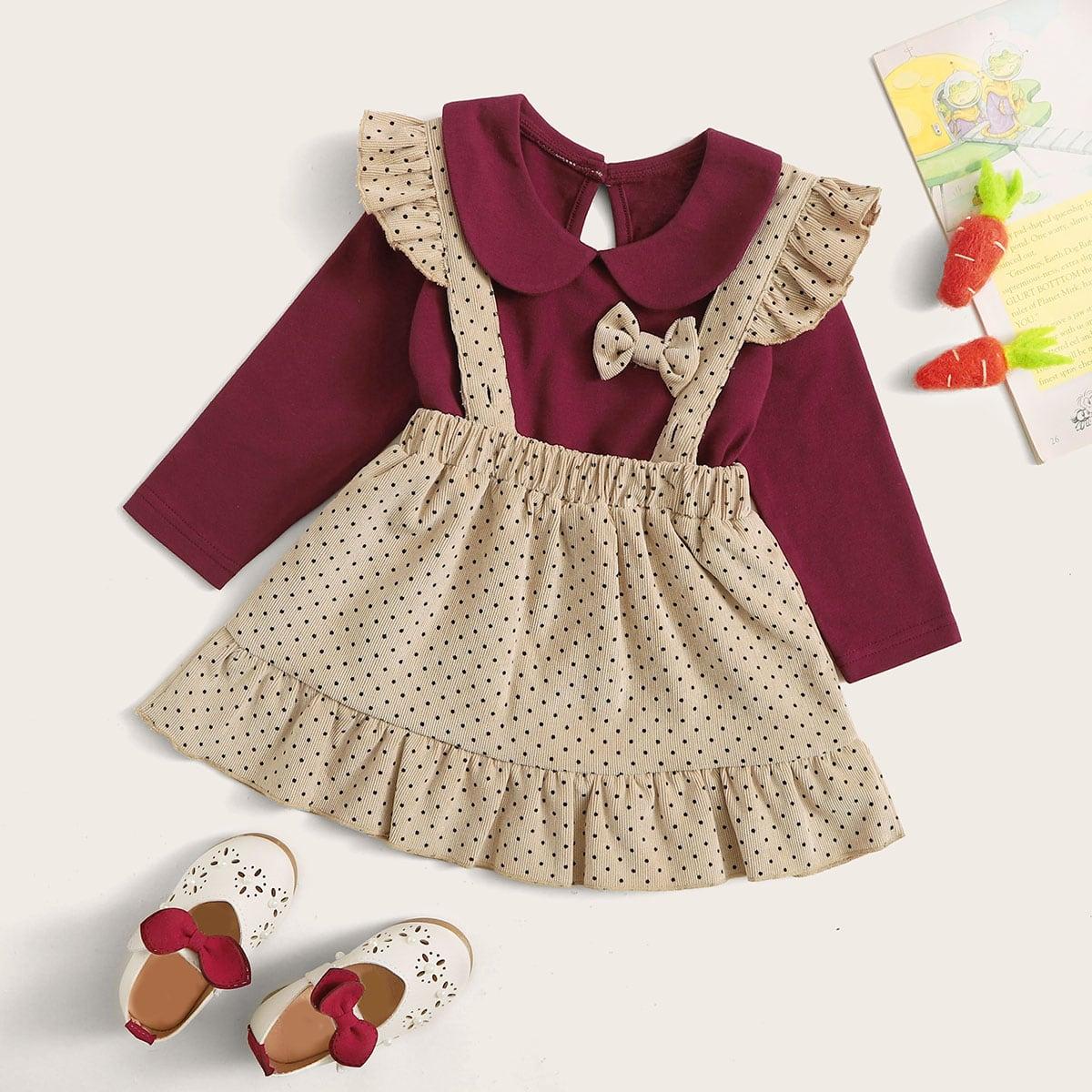 Baby Mädchen T-Shirt mit Peter Pan Kragen, Schleife & Rock mit Punkten Muster und Raffung