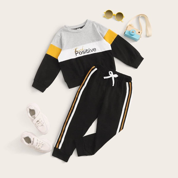 Toddler Boys Cut And Sew Letter Graphic Sweatshirt & Tape Side Joggers, Multicolor