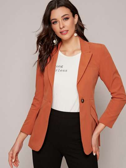 Pocket Front Lapel Neck Belted Blazer