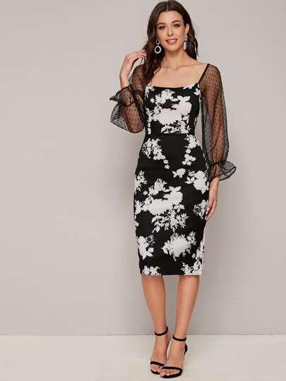 Contrast Mesh Floral Print Bodycon Dress