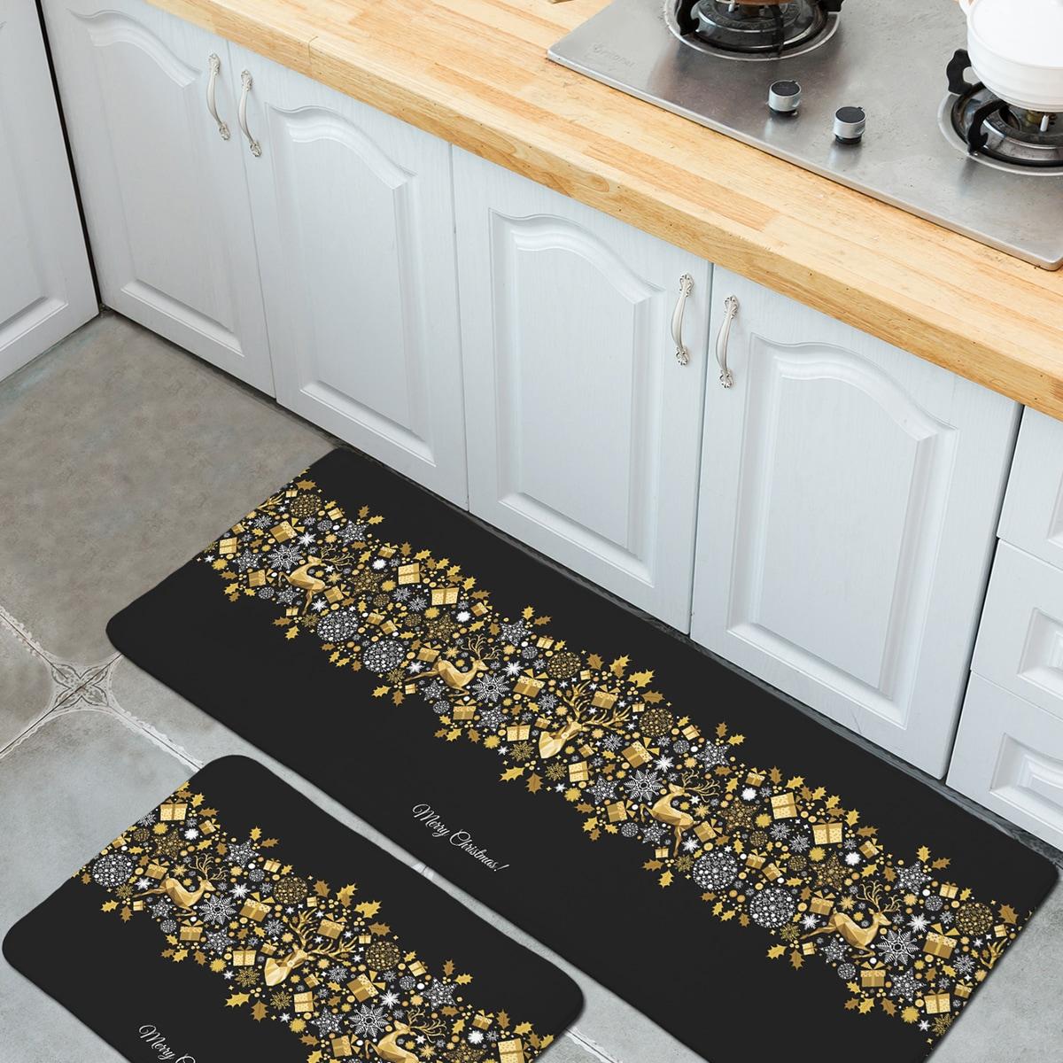 1шт Рождественский принт кухонный пол коврик
