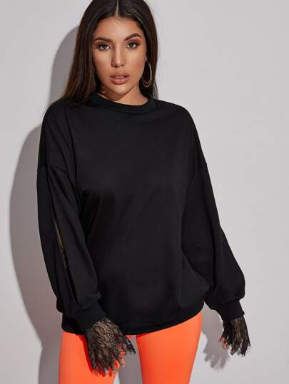 Solid Split Sleeve Contrast Lace Sweatshirt
